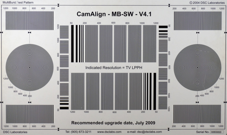 For testing video resolution we use the CamAlign MultiBurst chart provided by DSC Labs.