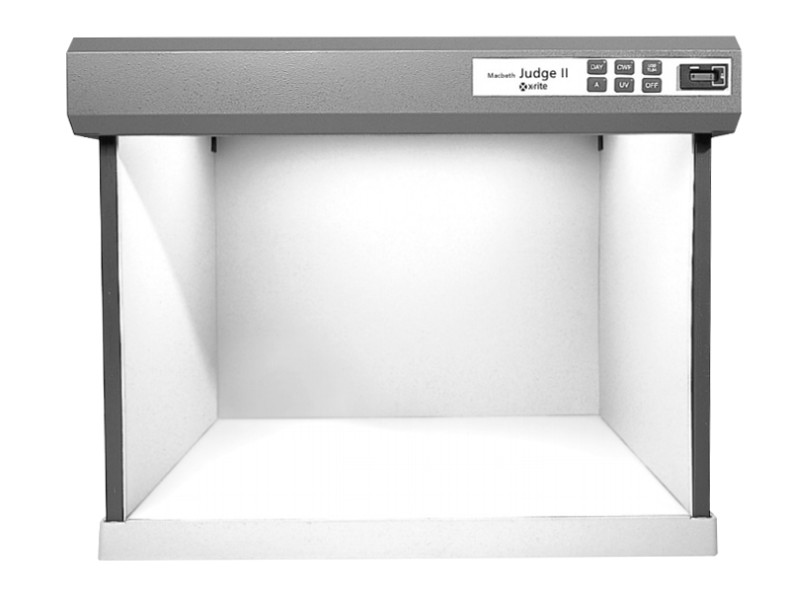 The X-Rite Judge II viewing booth provides us with a color neutral viewing area for testing white balance in a variety of conditions.