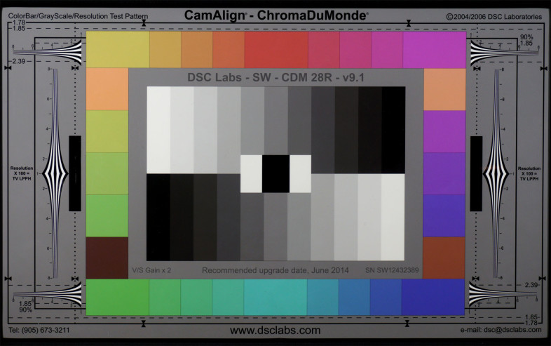 For testing video quality at low light levels we use the Chroma DuMonde 24+4 patch with a cavity black center.