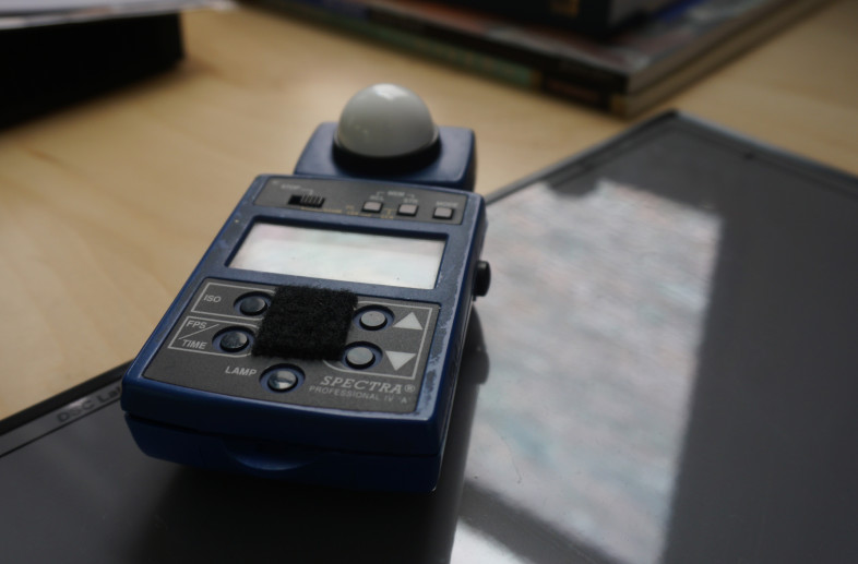 To accurately judge the light level used to illuminate our test charts and rigs we rely on Spectra IV light meters.