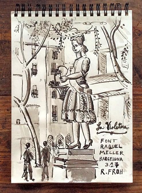 """""""La Violetera (The Violet Seller)"""", 2017, ink on paper (sketchbook), 20x15cm"""
