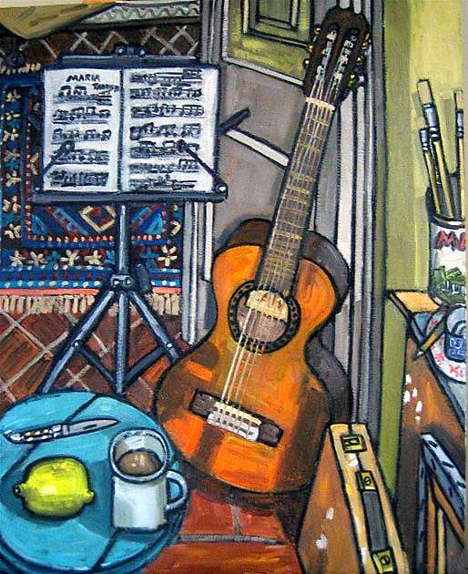Guitar (with Music by Francisco Tarrega), 2010, oil on linen, 92x73cm