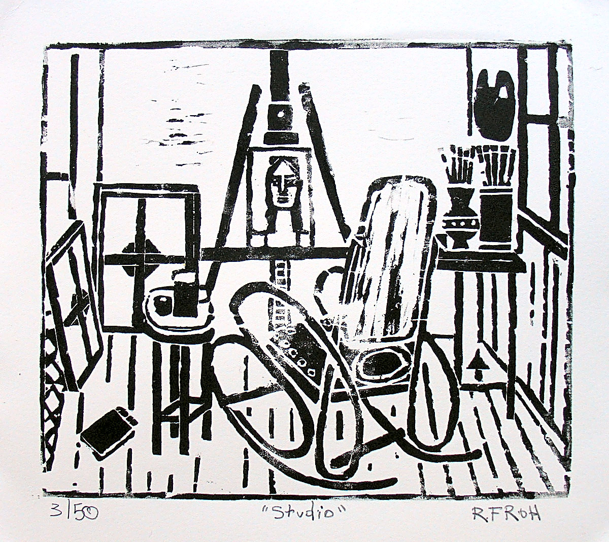 """Studio with Rocking Chair"", November, 2017, Woodcut, 21x24cm"