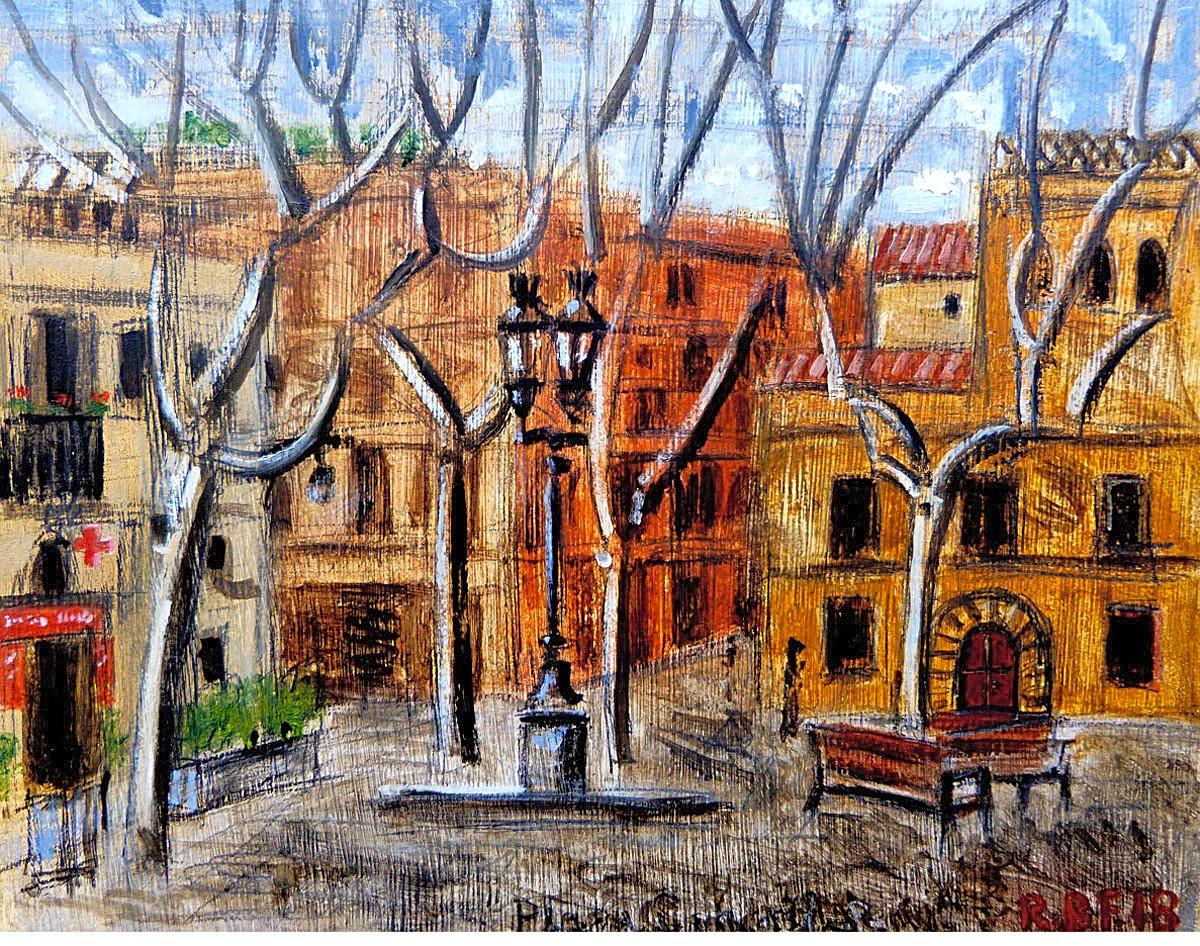 """""""Plaça de la Concòrdia, Les Corts, Barcelona"""", 3.18, oil study on wood panel. 14x17.5cm"""