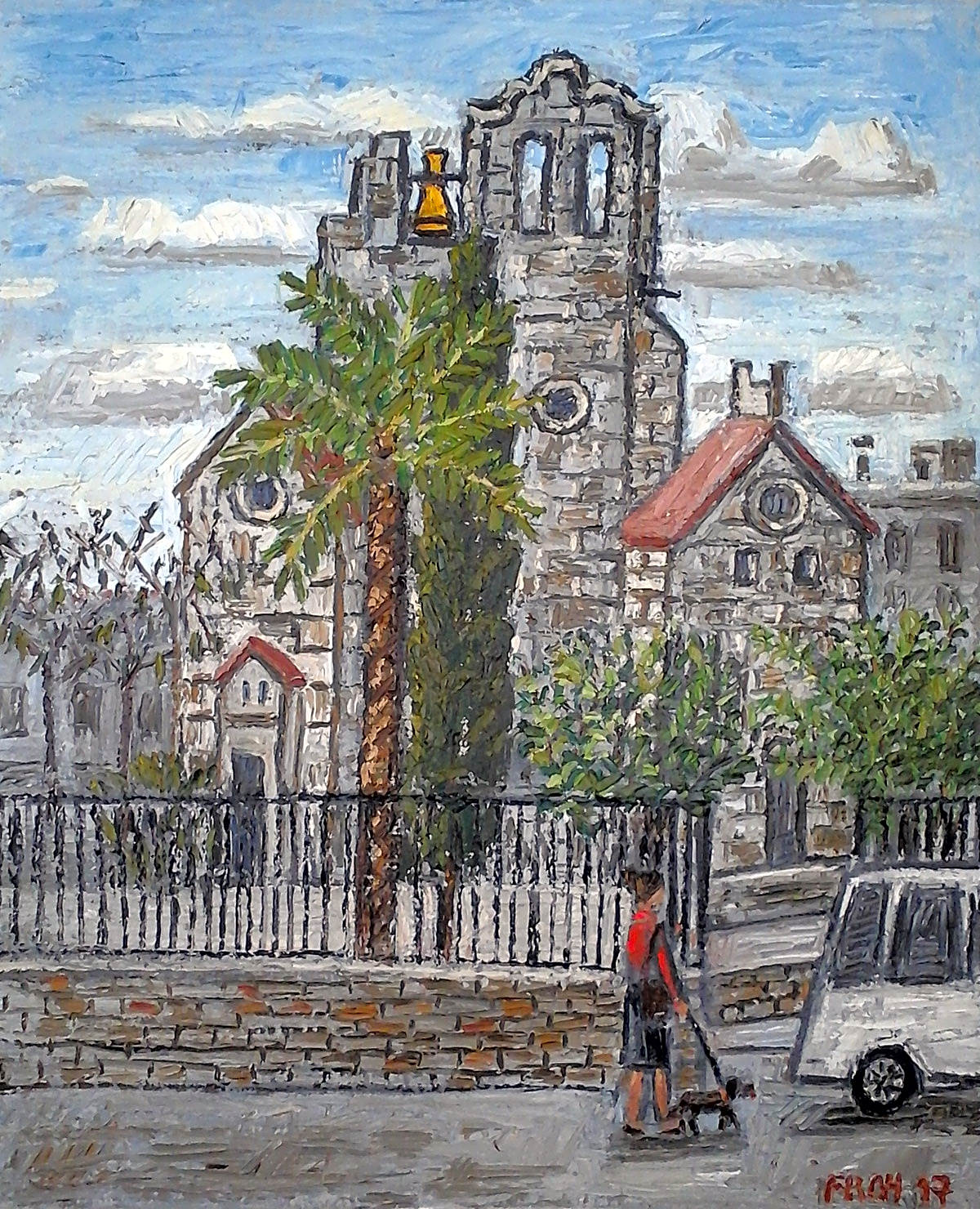 """Sant Pau del Camp (Saint Paul of the Fields)"", Barcelona, 2017, oil on linen, 73x60cm"
