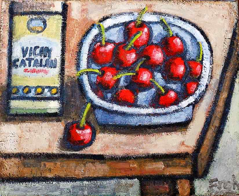 Cherries with Vichy Catalan, 2010, oil on linen, 41x33cm