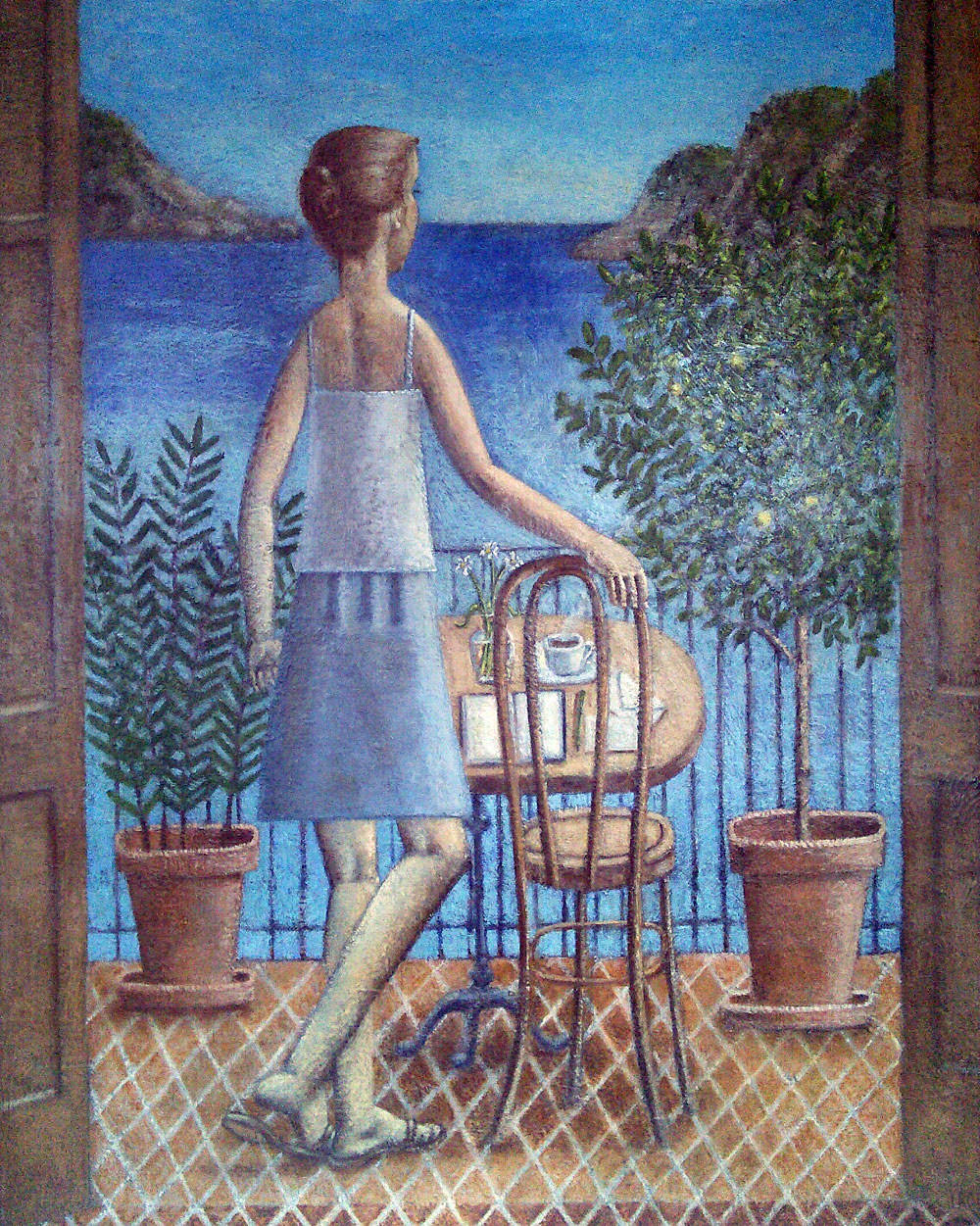"""Summerland"" (Woman on a Terrace), 2016, oil on linen, 81x65cm"