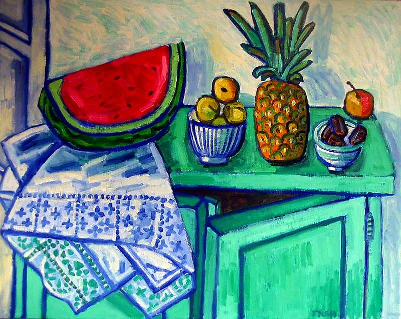 Still Life on a Green Side Board (Homage to Matisse), 2012, oil on linen, 73x92cm