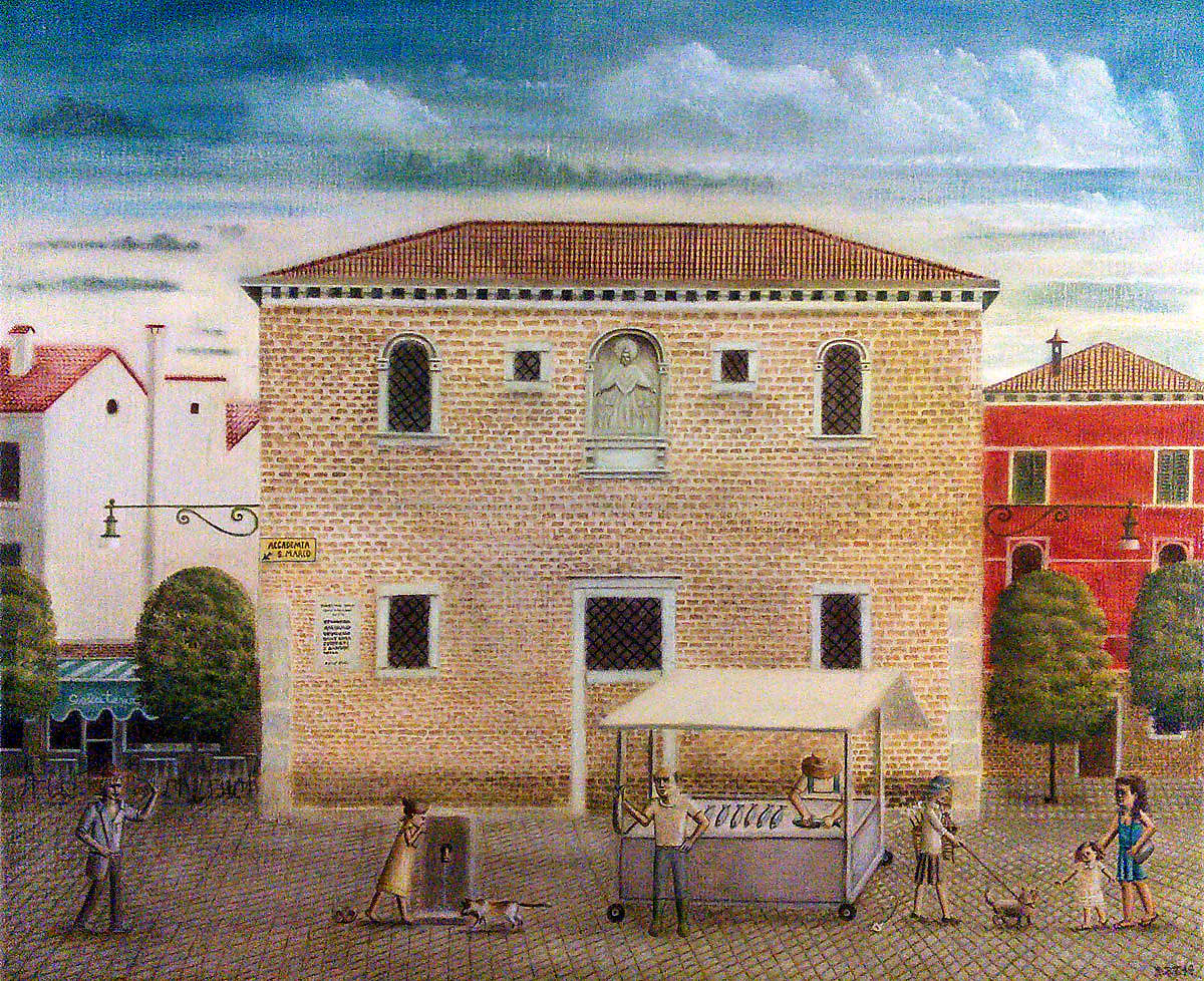 """A Summer Morning in Campo Santa Margherita, Venice, Italy"", 2014, oil on linen, 60x74cm"