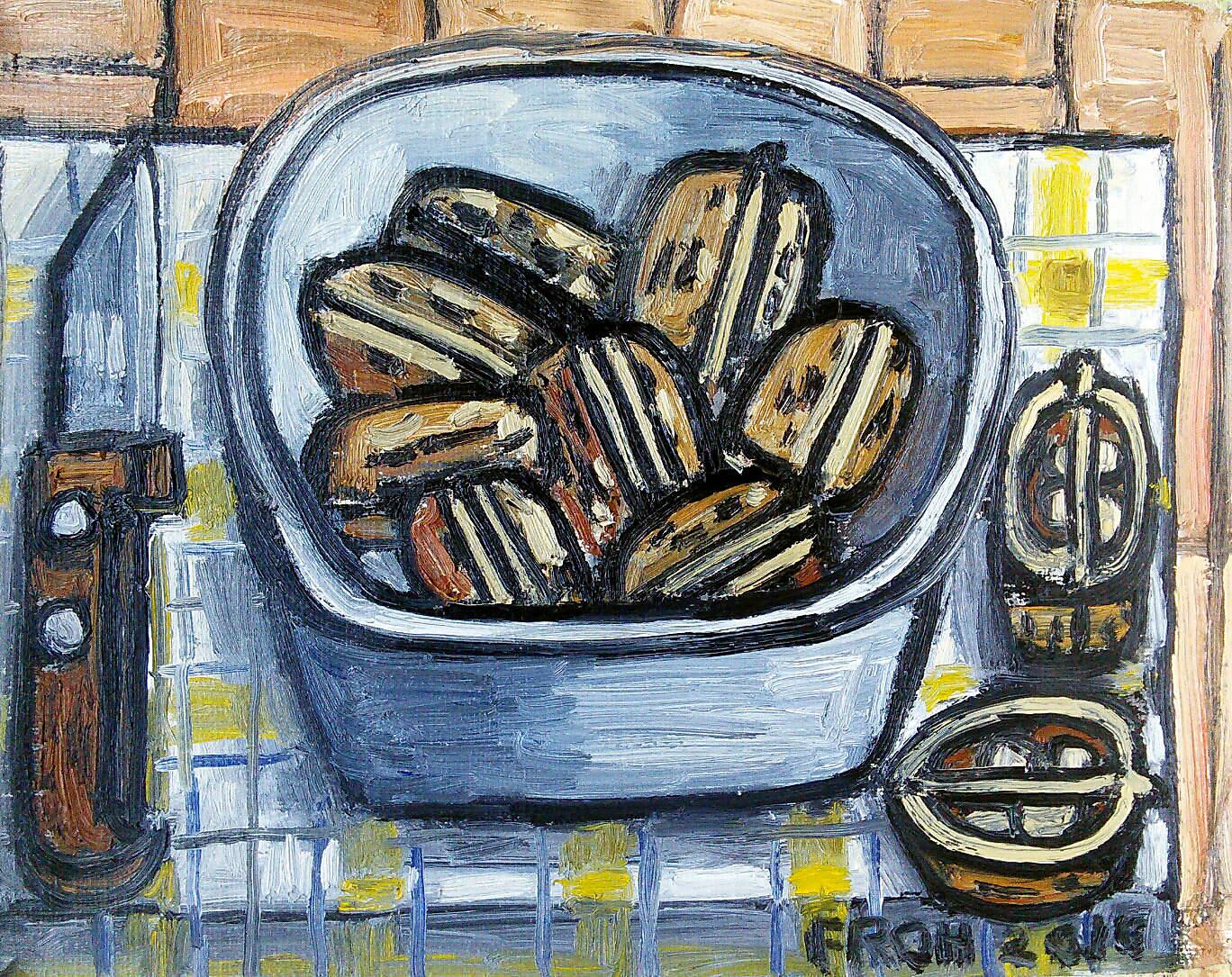 Nueces (Walnuts), 2016, oil on linen mounted on board, 26x20cm
