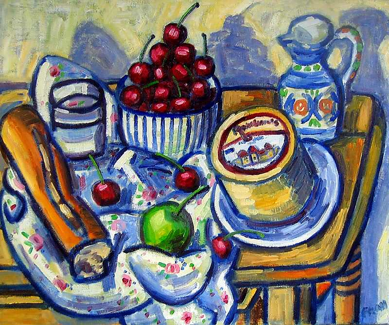 Still life with Cherries, 2012, oil on linen, 46x25cm