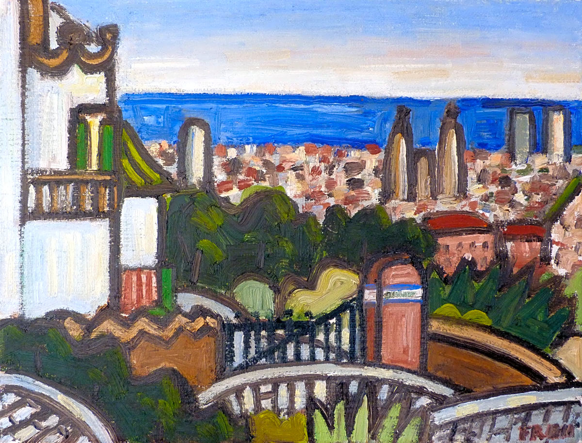 """View of Barcelona from Park Güell"", 2017, oil on linen, 27x35cm"