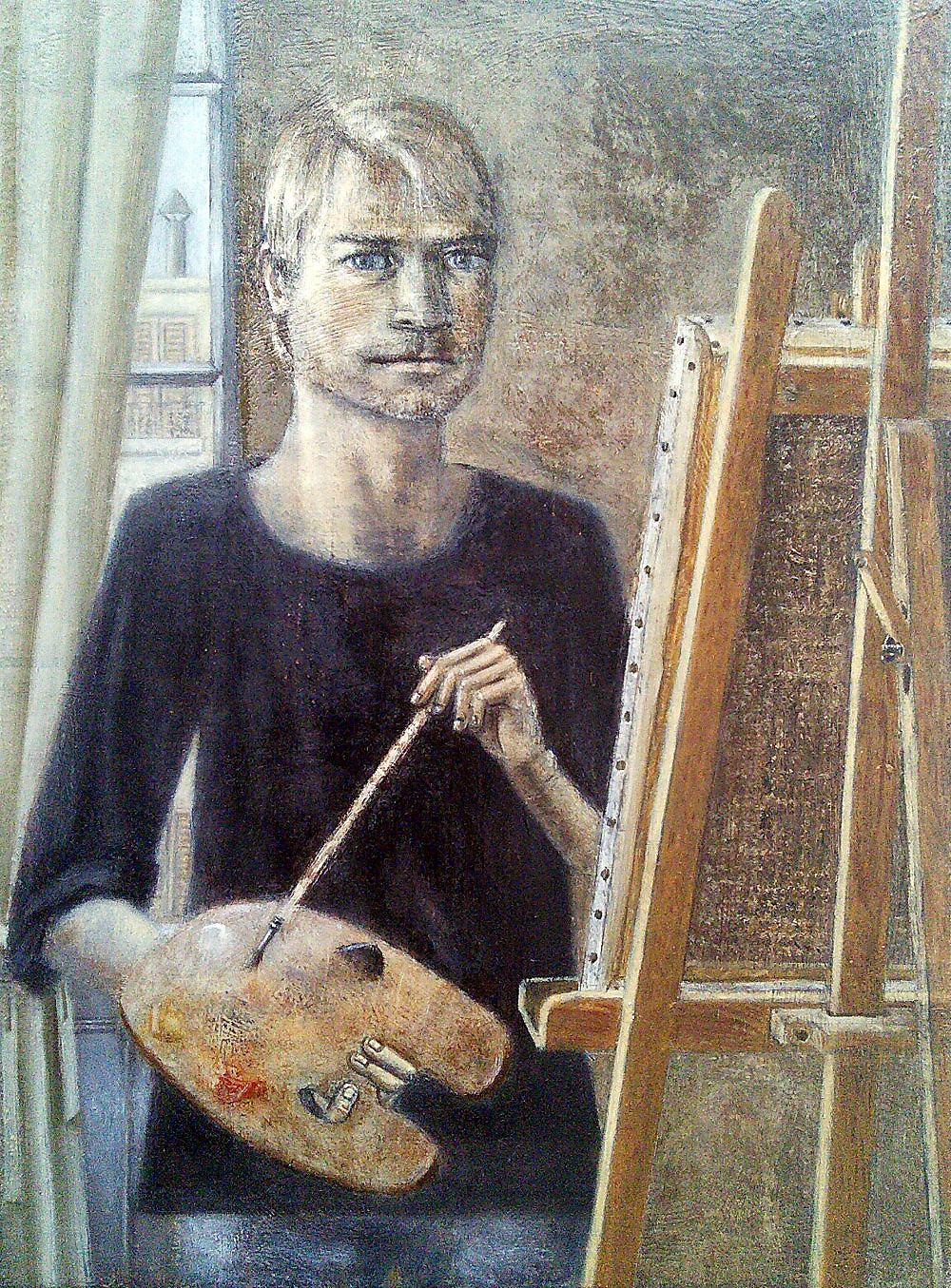 """Self Portrait in Autumn, 2016, oil on linen, 33x24cm"