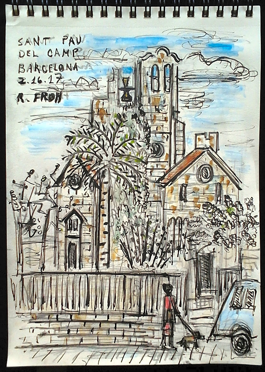 """Sant Pau del Camp"", Barcelona, 2017, ink and watercolor on paper (sketchbook), 21x15cm"