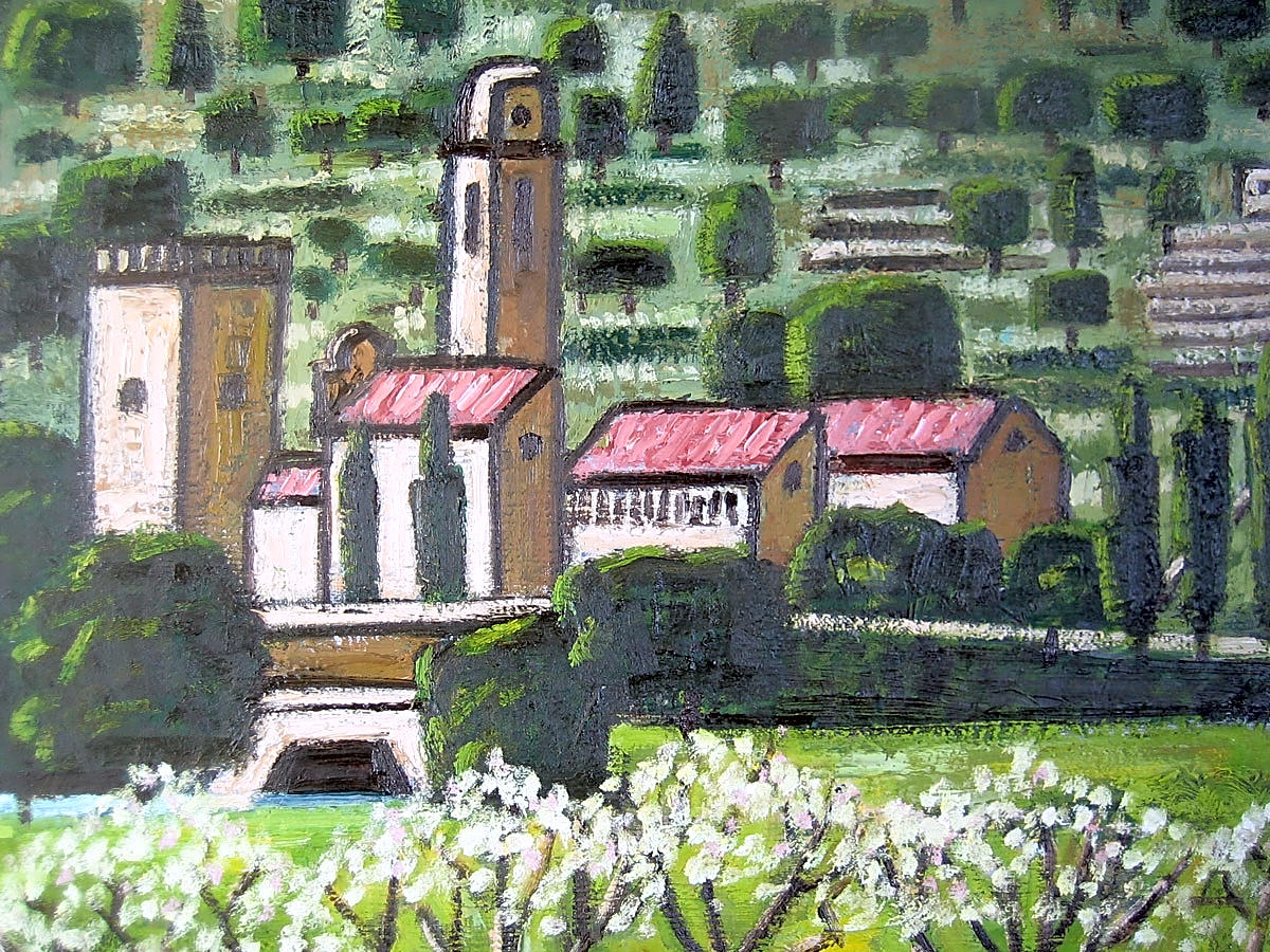 detail of monastery with almond trees