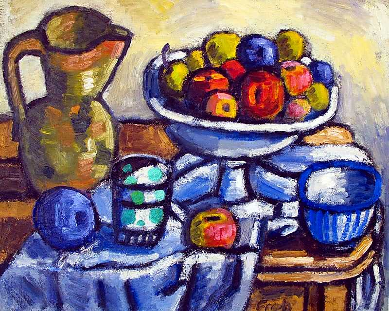 Still life with Plums and Peaches, 2012, oil on linen, 46x55cm