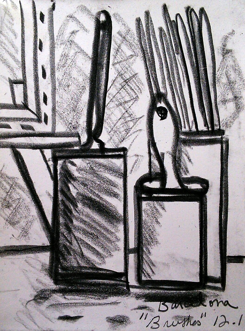 """Brushes"", from winter sketchbook, 2014, black chalk, 21x16cm"