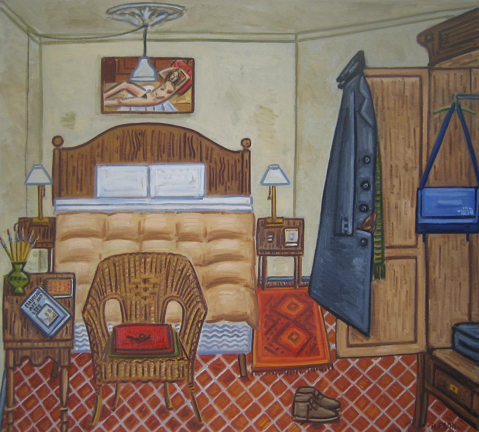 """""""Bedroom, Barcelona (Winter), 2017, oil on linen, 73x81cm"""