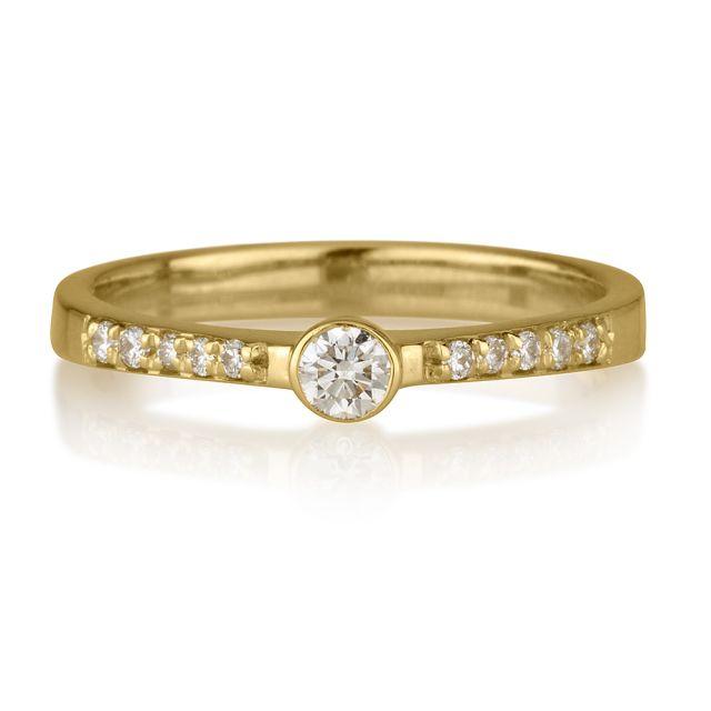 טבעת אירוסין ליב זהב צהוב