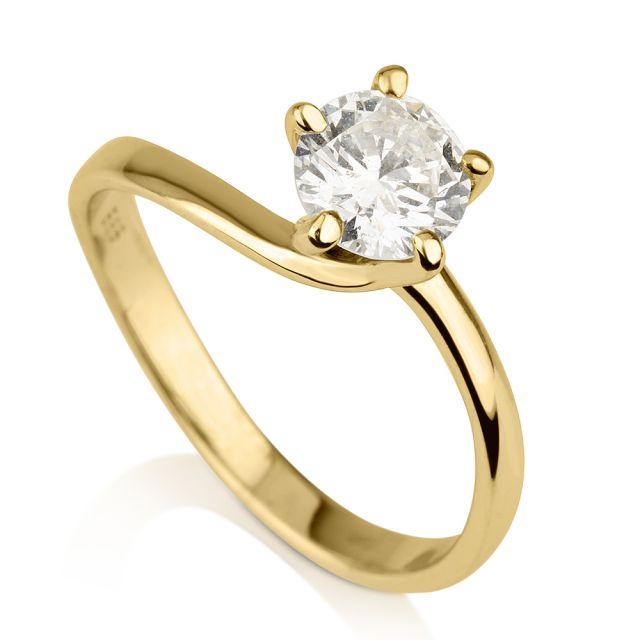 טבעת אירוסין זהב צהוב ג'וליה