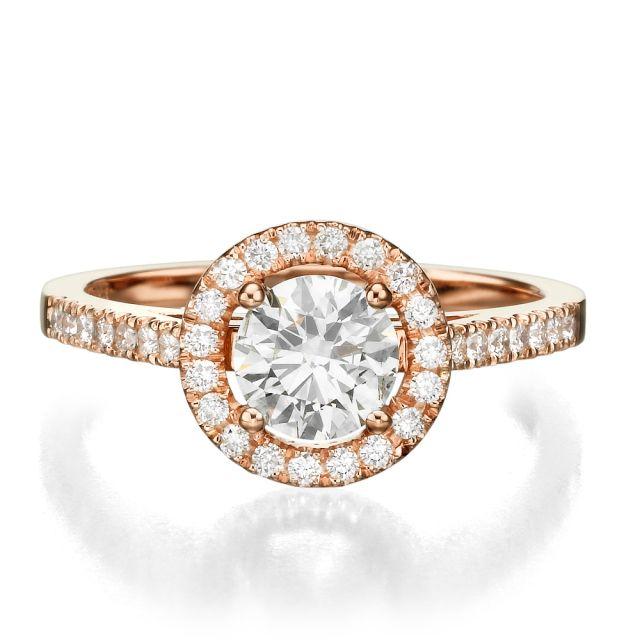 טבעת אירוסין יוקרתית דגם לני זהב אדום