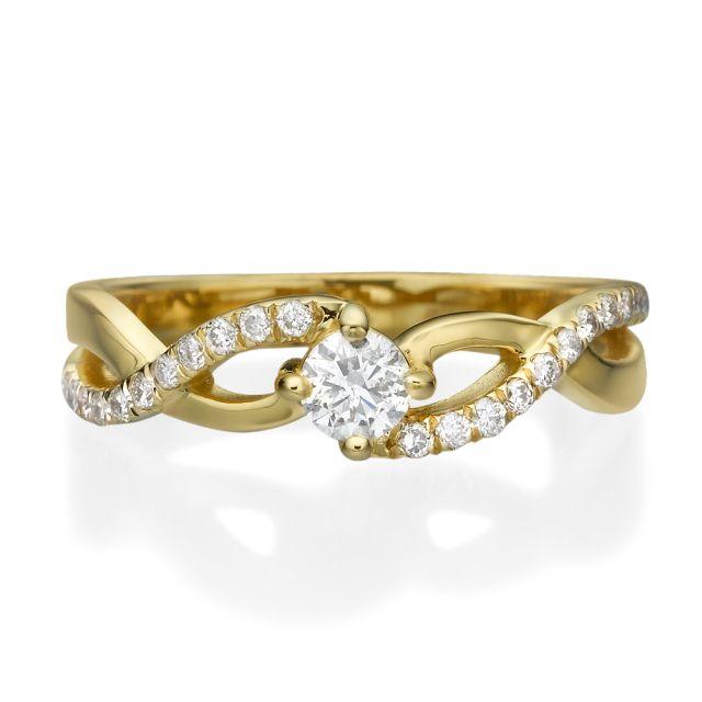 טבעת אירוסין קלי זהב צהוב