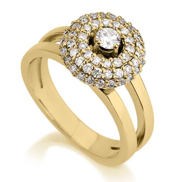 טבעת אירוסין קרן זהב צהוב