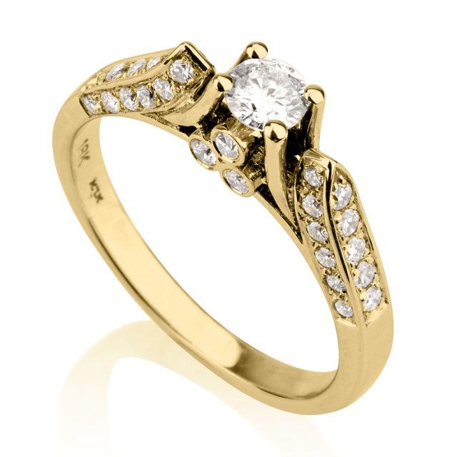 טבעת אירוסין אגם זהב צהוב
