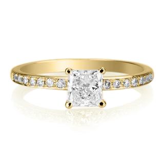 טבעת אירוסין בחיתוך פרינסס זהב צהוב