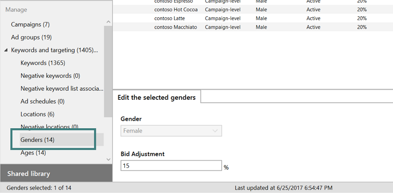 bing ads editor edit gender ad option