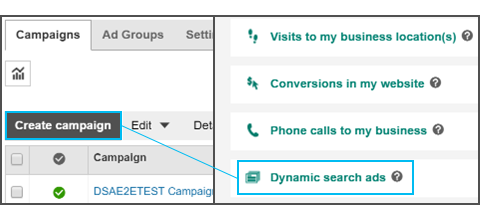 create bing ads dynamic search ads