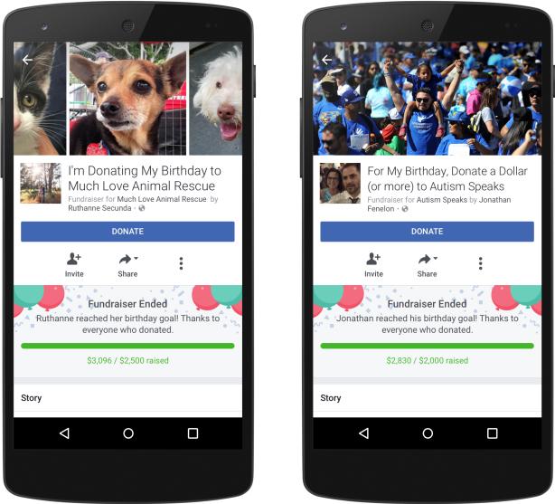 Facebook birthday fundraiser