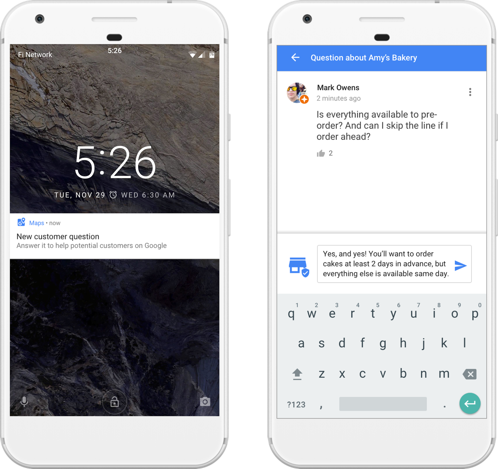 Push notification & answer to questions-answer feature on Android