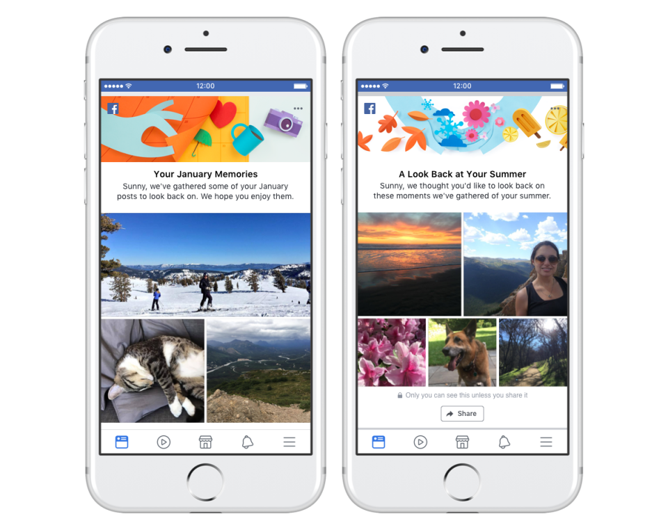 Facebook monthly or seasonal memory recap story