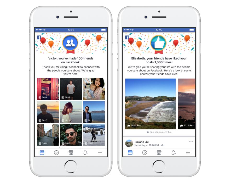 Facebook celebratory messages