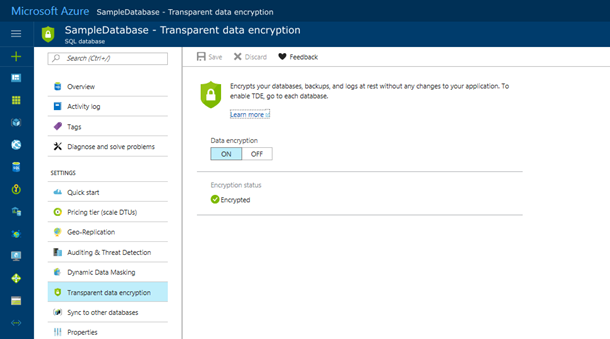 Enable TDE for Azure SQL Database and Warehouse