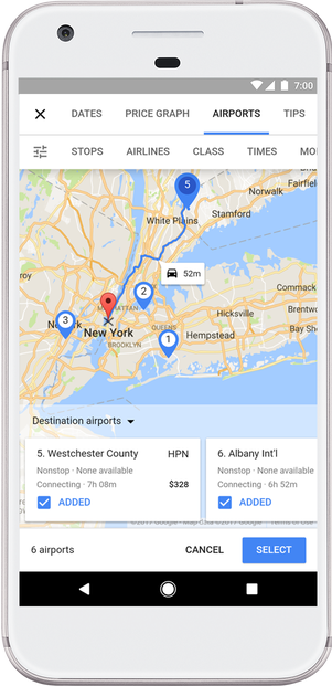 Google nearby airports or hotel locations