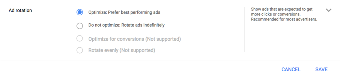 AdWords ad rotation settings