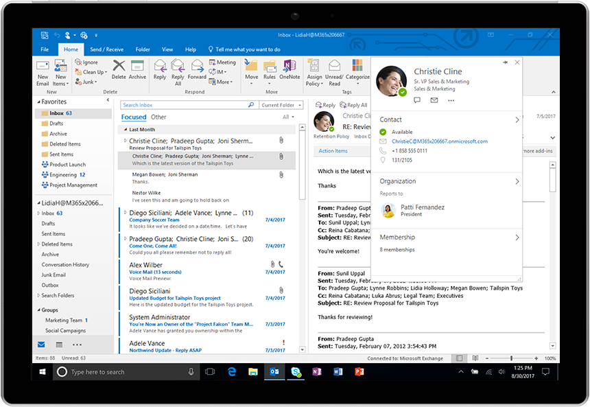Rick profiles in Outlook for Windows
