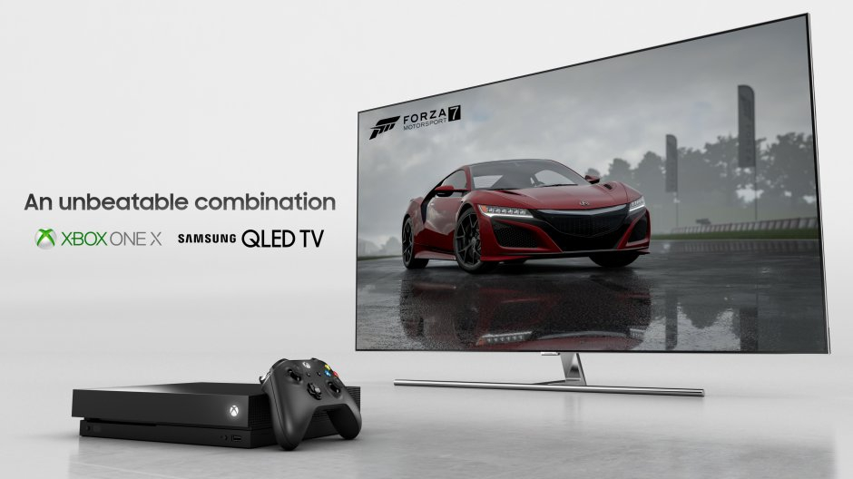 4k hdr gaming on xbox one x and samsung qled tv - hero