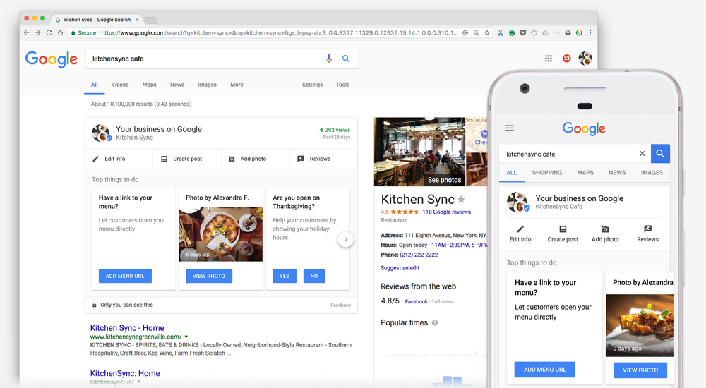 Google My Business Dashboad in Search Results