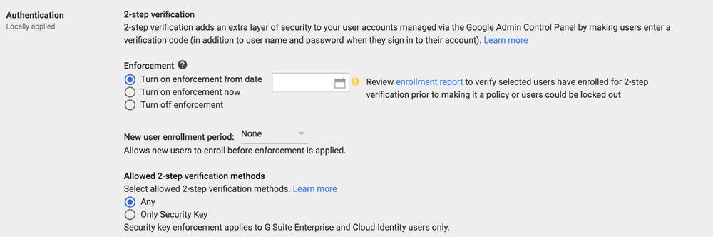 enforce 2-step verification in g suite