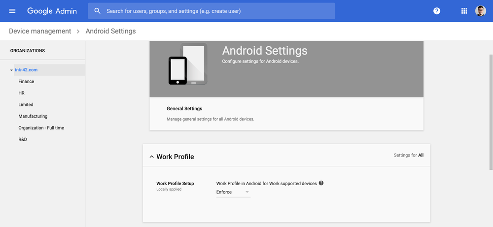 enforce android work profiles in g suite