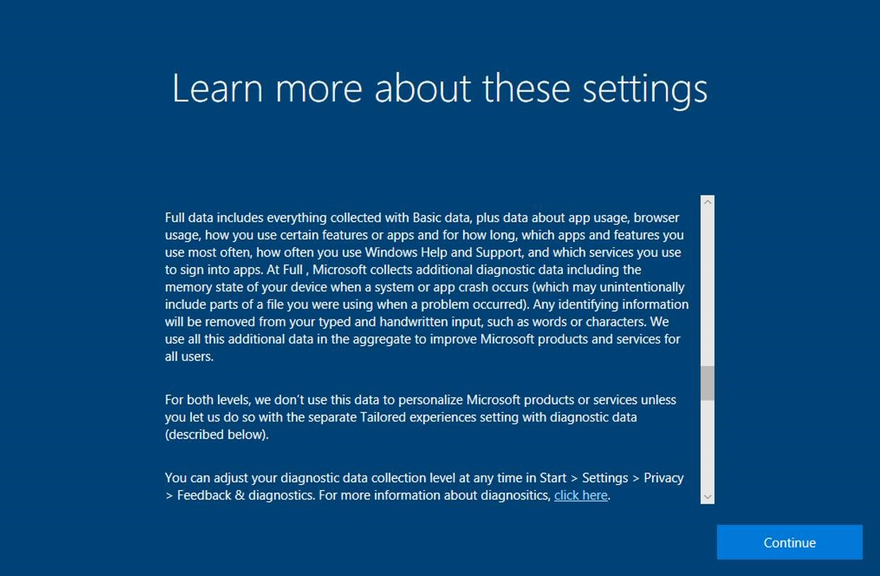 privacy statement in windows 10 fall creators update