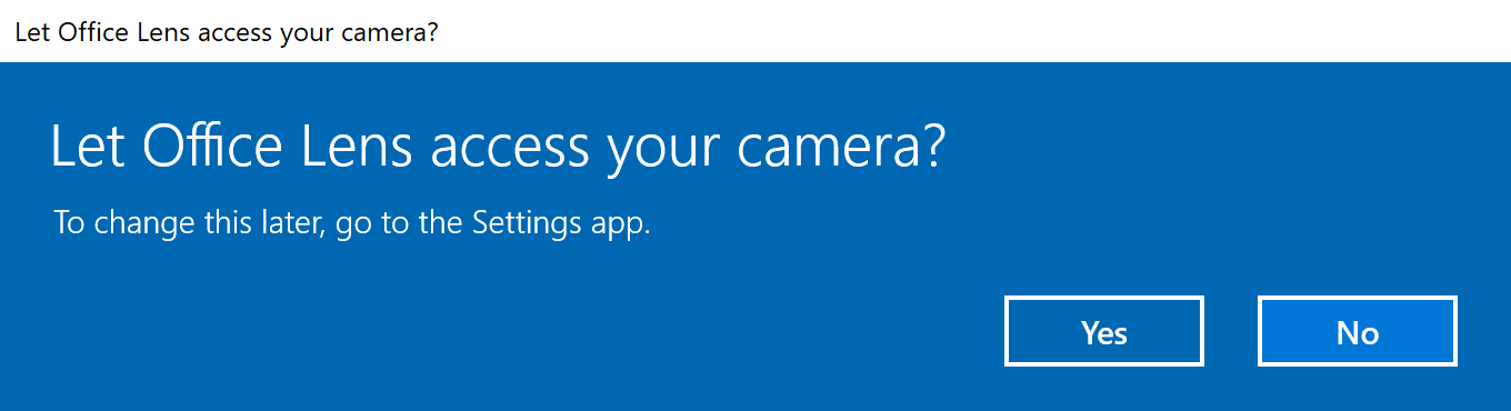 office lens asking to access camera in windows 10 fall creators update