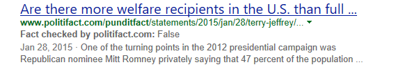 Bing SERP: Fact Check label for a website