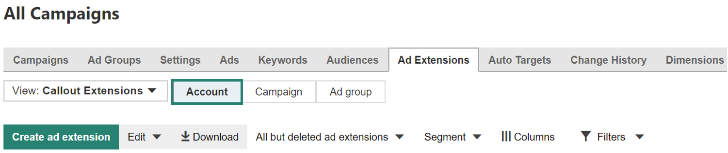 Create account level association for extensions in Bing Ads All Campaigns