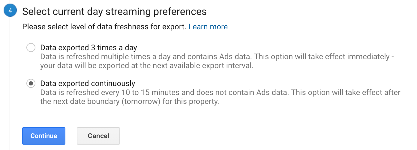Google Analytics BigQuery Streaming Pfererences