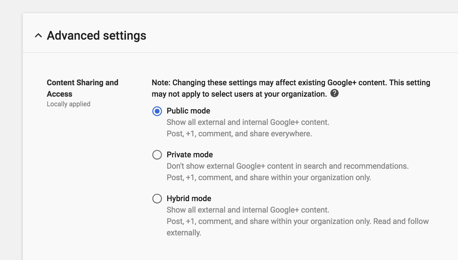 New Google+ sharing settings in G Suite