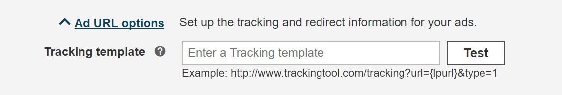 Bing Ads URL tracking template
